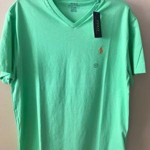 Polo Ralph Lauren green V-neck T-shirt NWT
